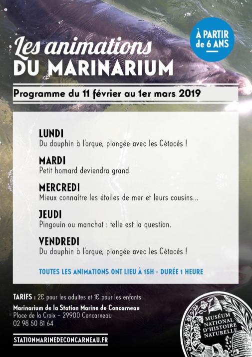 Programme des Animations du Marinarium